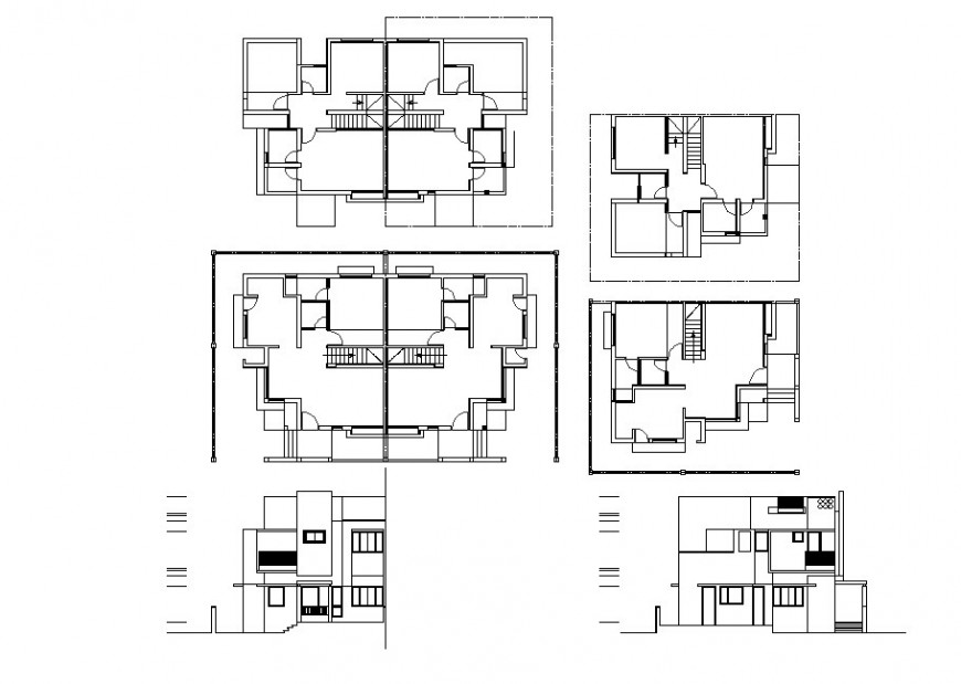 Modern bungalow construction plan in dwg AutoCAD file.
