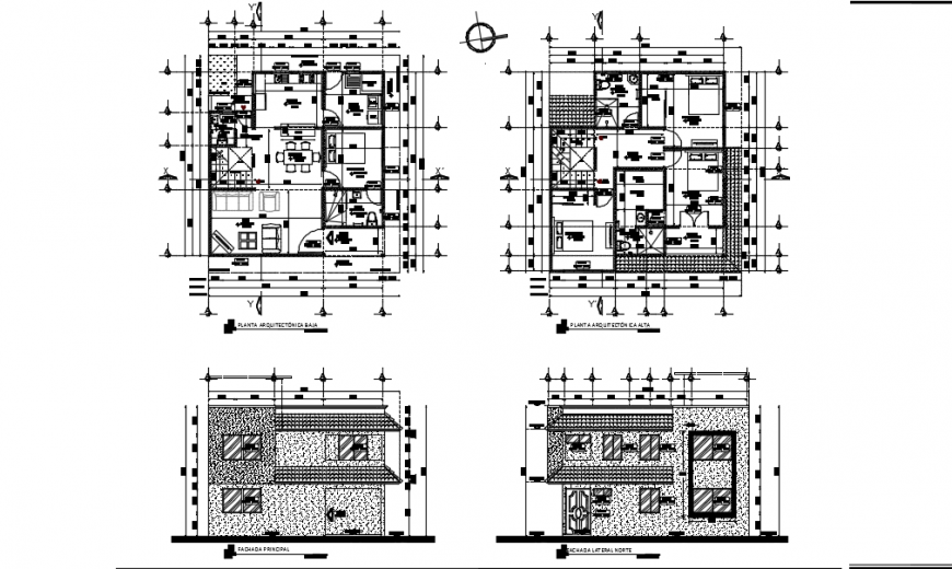 Modern bungalow elevation detail with layout plan detail dwg file