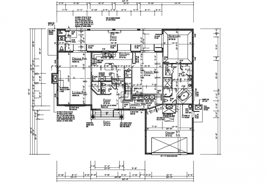 Modern Bungalow Lay-out detail in Autocad file