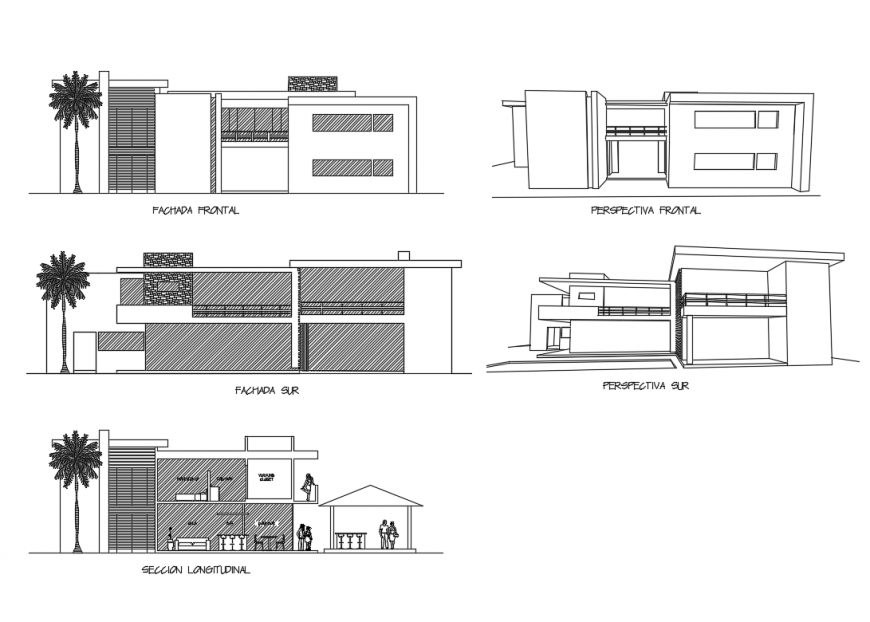 Modern bungalow two story all sided elevations and perspective view details dwg file