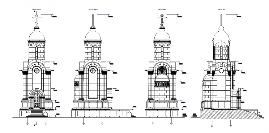 Modern Church Buildings Elevation Detail in Autocad File
