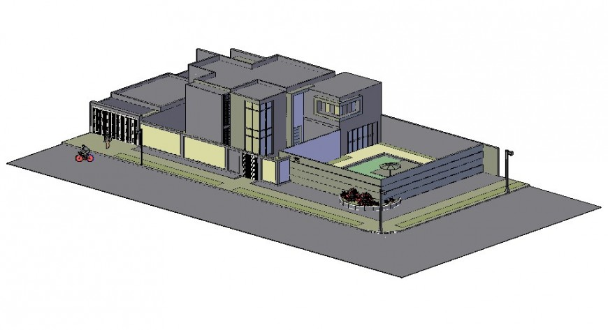 Modern concrete house 3d model in AutoCAD file.