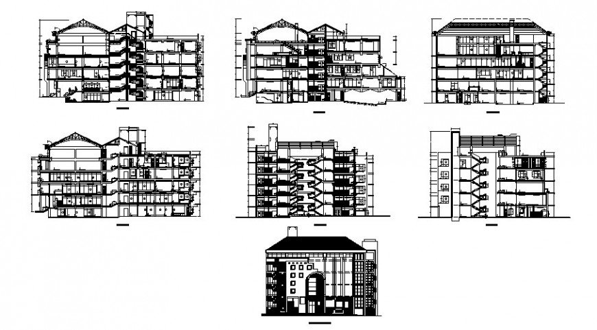 Modern design apartment working drawing in dwg file.