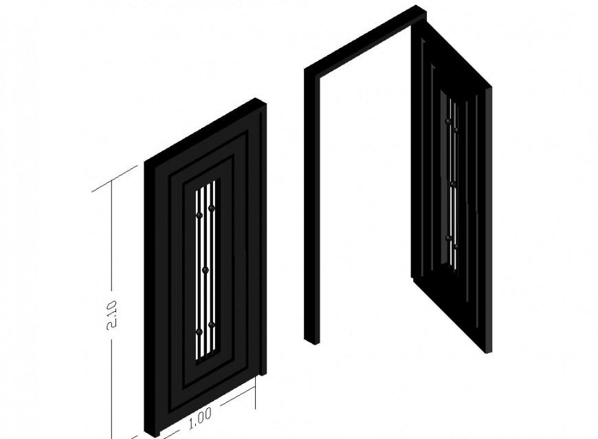 Modern door block detailing dwg file