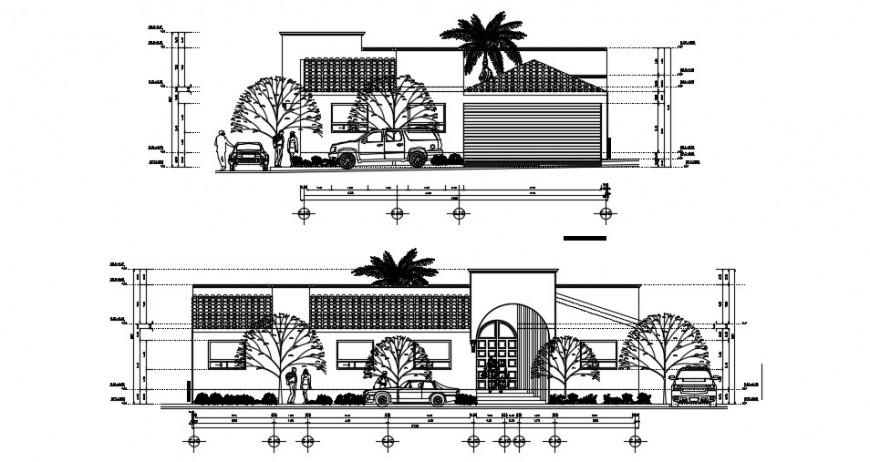Modern drawing of residence elevation design