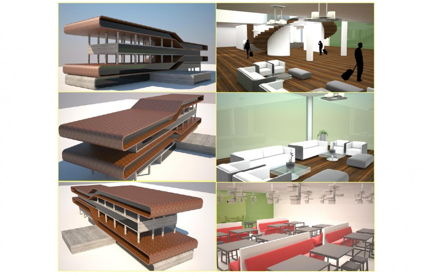 Modern hotel building with furniture and interior cad drawing details dwg file