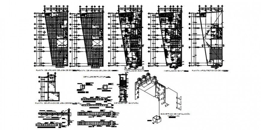 Modern hotel floor plan distribution and structure cad drawing details dwg file