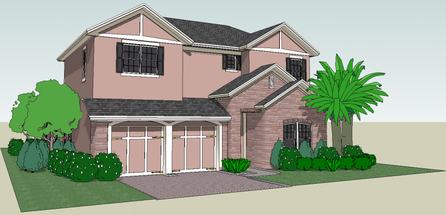 Modern house 3d drawing in skp file.