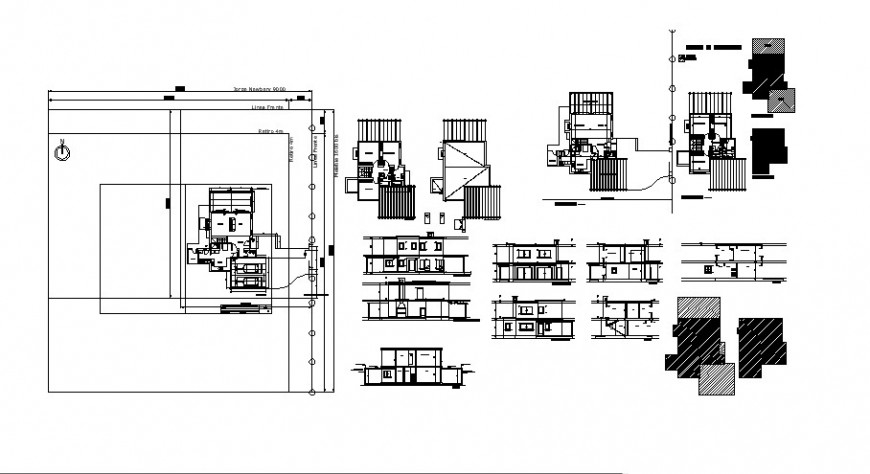 Modern house all sided elevation, section and floor plan drawing details dwg file