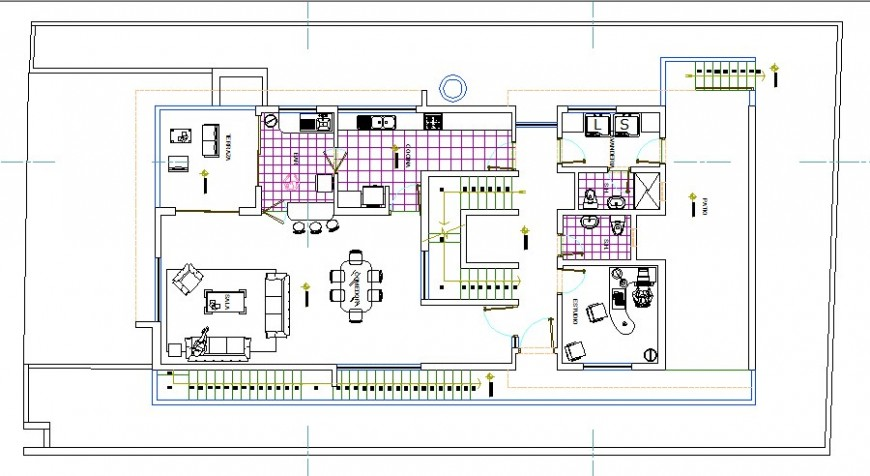 Modern house detailed architecture project with furniture cad drawing details dwg file