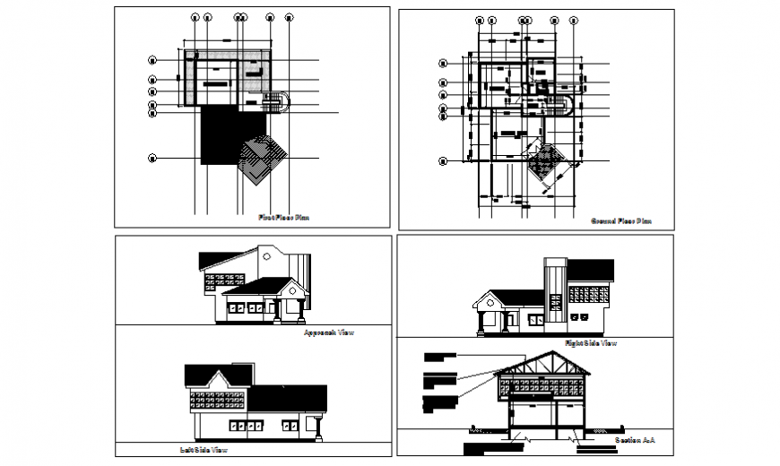 Modern house elevation, section and floor plan details dwg file