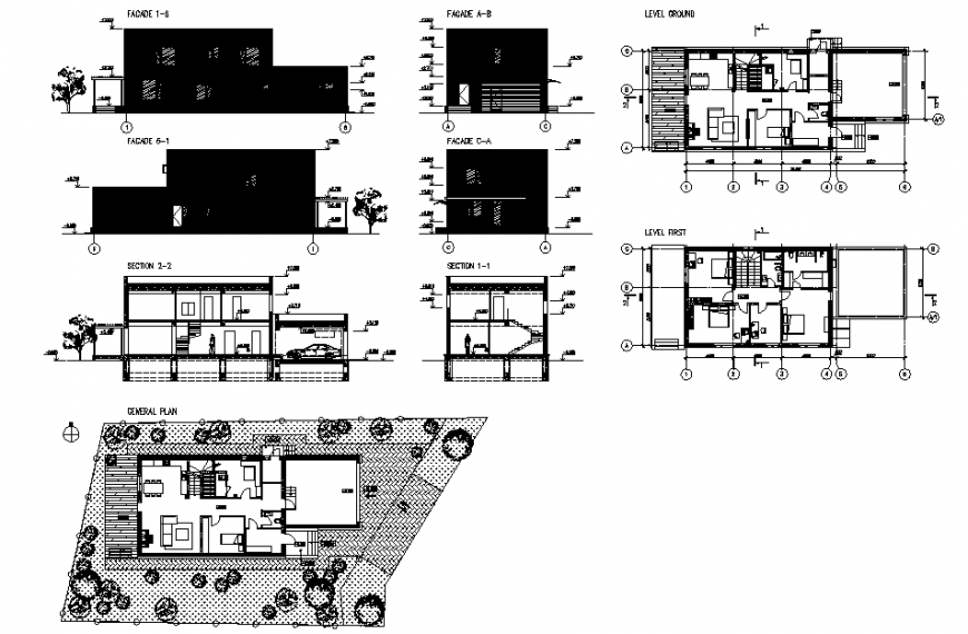 Modern house plan, elevation and section detail dwg file