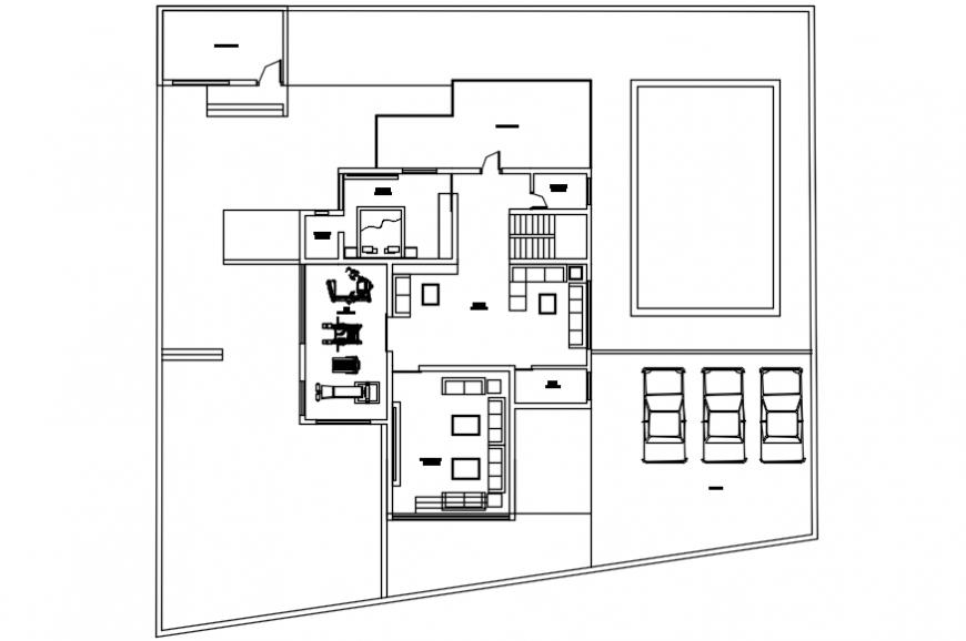 Modern house top view plan