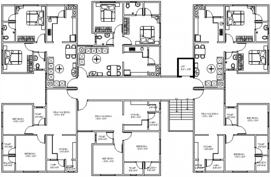 Modern house top view plan 2d files