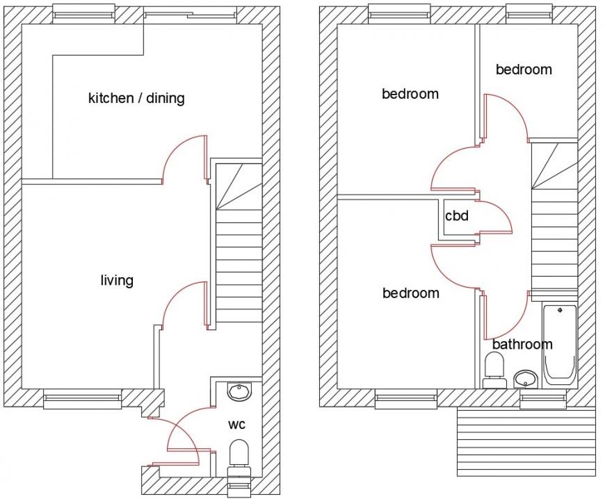 Modern house top view plan 2d model file