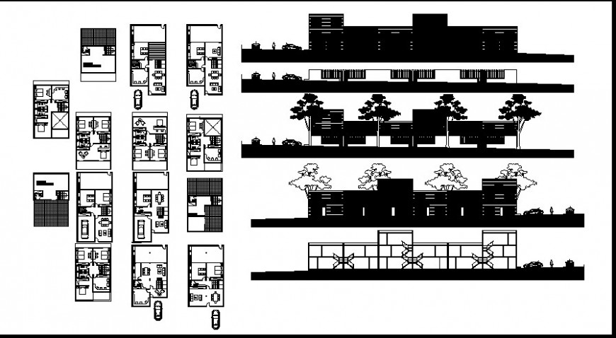 Modern house top view plan and elevation
