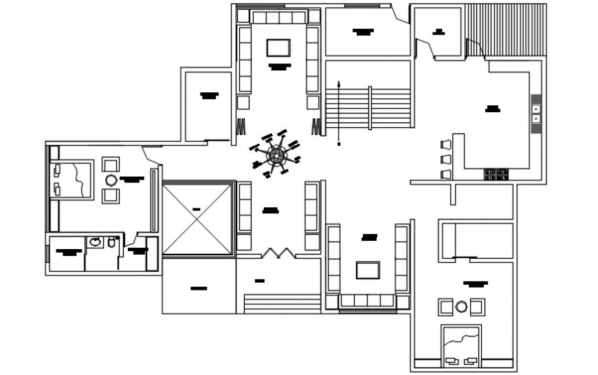 Modern house top view plan concept