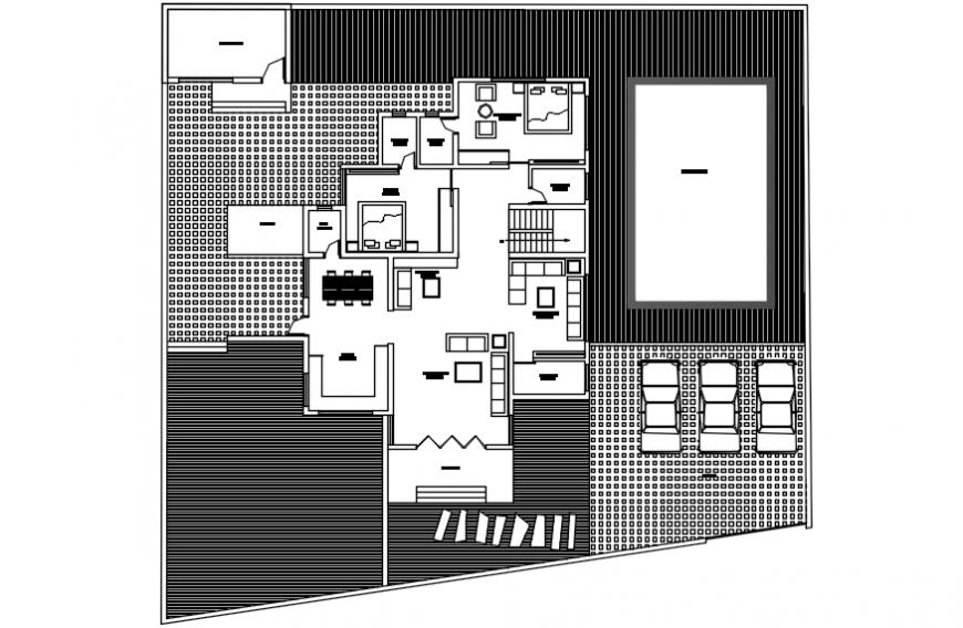 Modern house top view plan dwg file