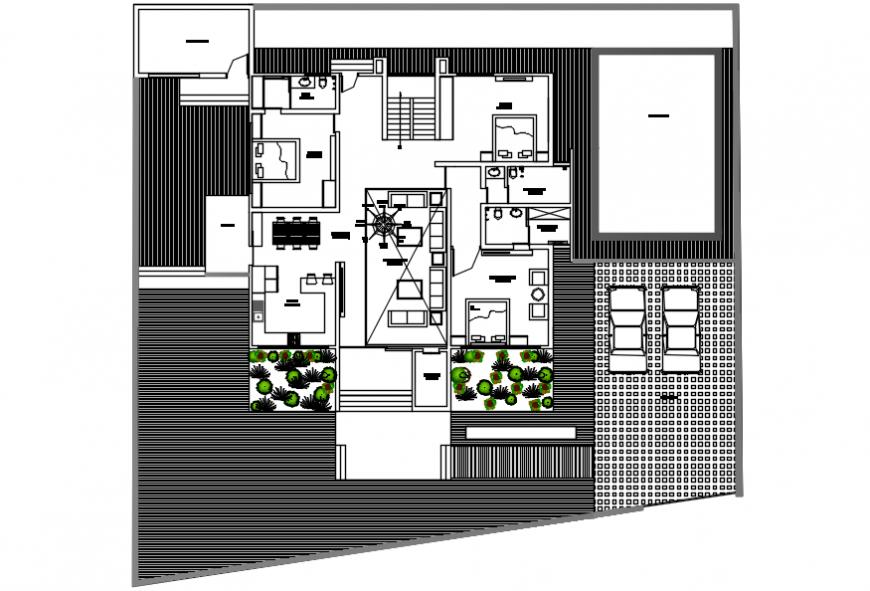 Modern house top view plan model