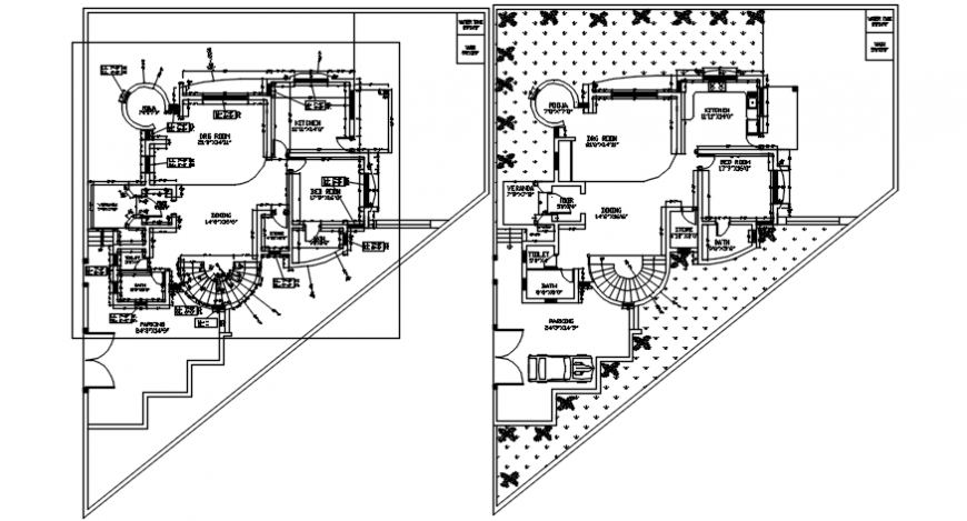 Modern house top view with concept of furniture design dwg file