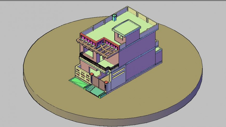 Modern house two-flooring 3d model cad drawing details dwg file
