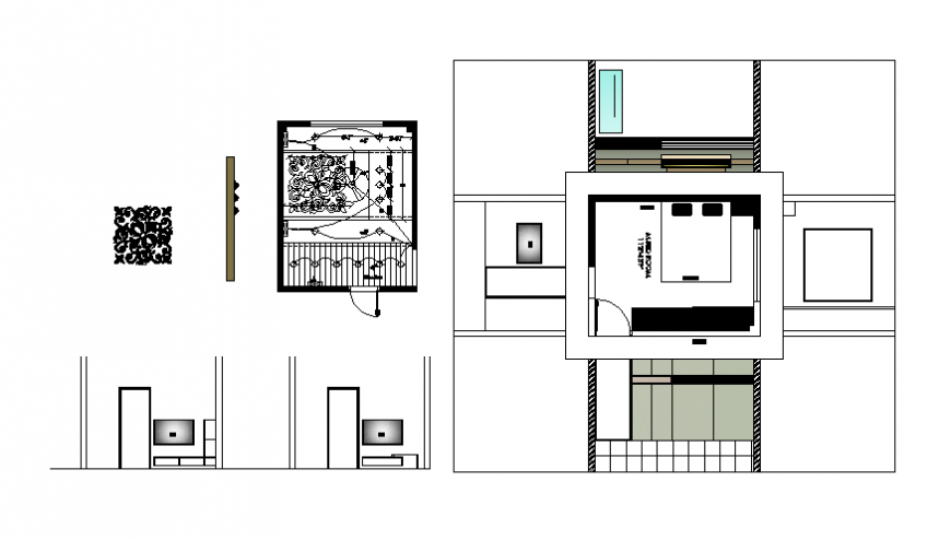 Modern kitchen sectional and interior details dwg file