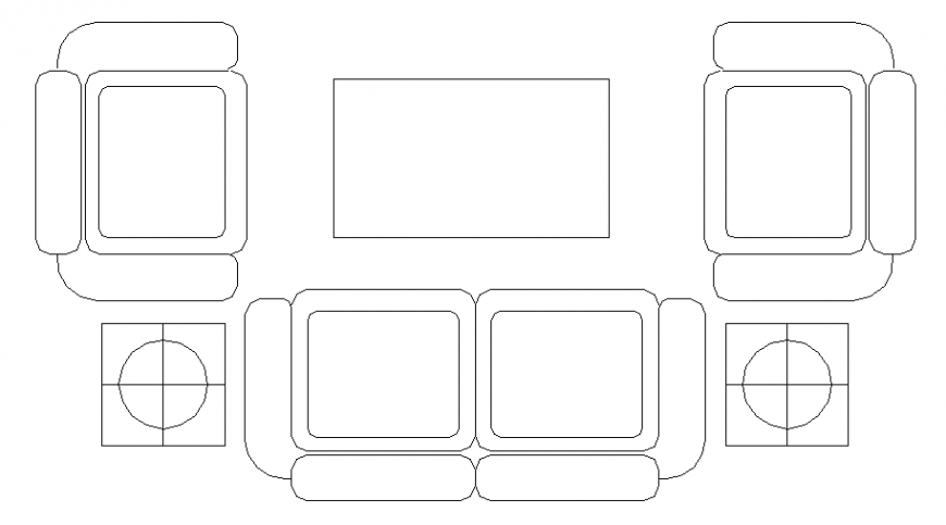Modern living room 2 d sofas planning detail dwg file
