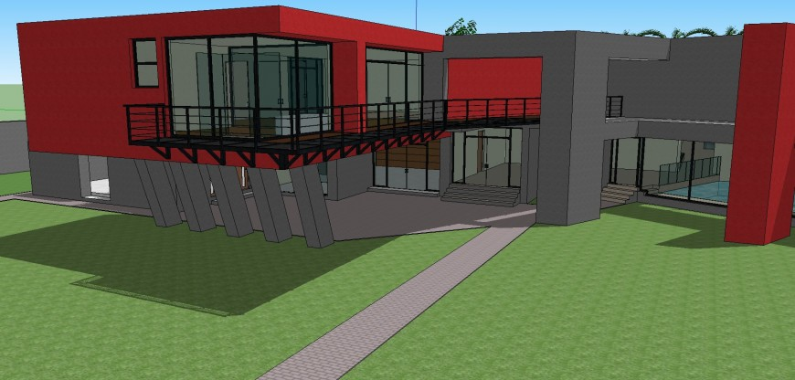 Modern one family 3d house back view model auto-cad drawing details skp file