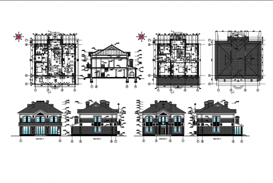 Modern one family house elevation, section and floor plan layout details dwg file