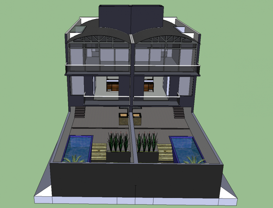 Modern one family triplex house 3d model cad drawing details skp file