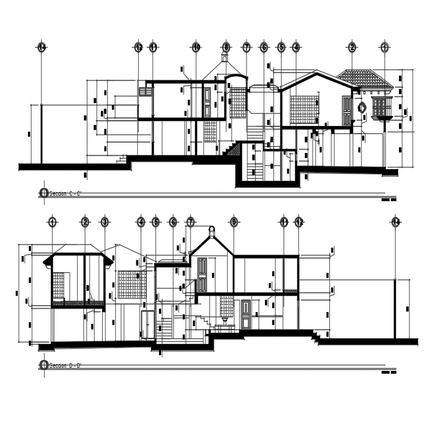 Modern one family two story house front and back sectional view dwg file