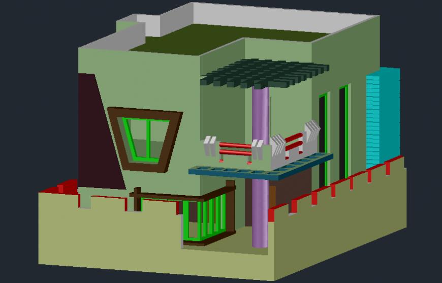 Modern residence duplex house 3d model cad drawing details dwg file