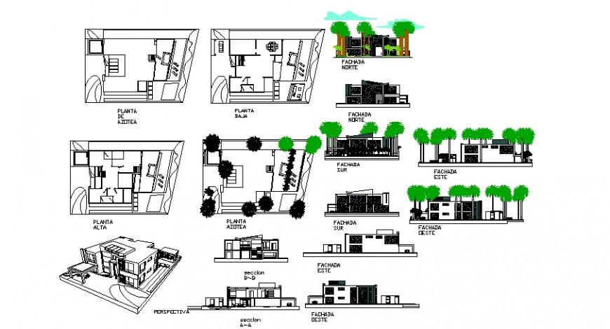 Modern residence floor plan elevation and perspective view in auto cad