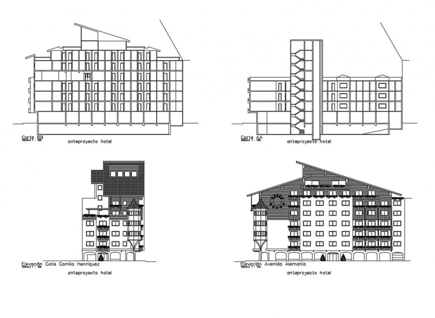 Modern residential apartment building elevation and section cad drawing details dwg file