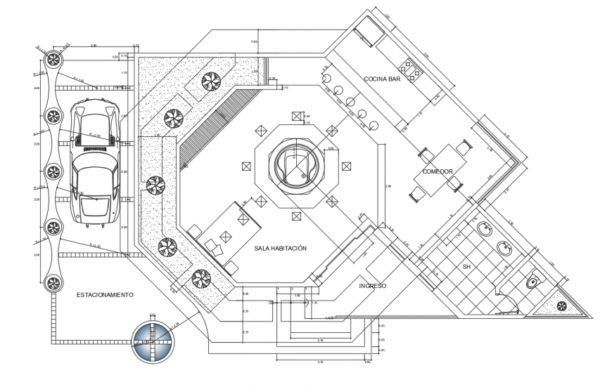 Modern residential house distribution layout plan cad drawing details dwg file