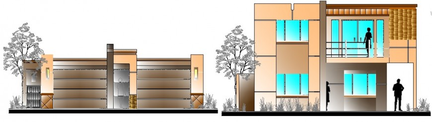 Modern residential house main elevation and compound wall cad drawing details dwg file