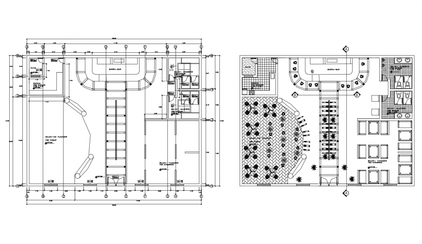 Modern salon floor plan distribution cad drawing details dwg file