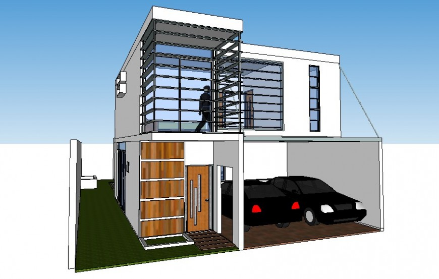 Modern two level house 3d design cad drawing details dwg file