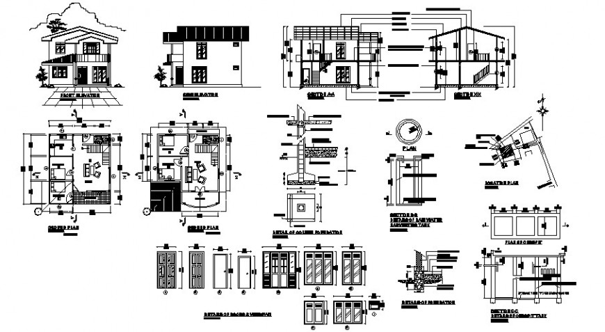 Modern two level house elevation, section, floor plan and structure details dwg file