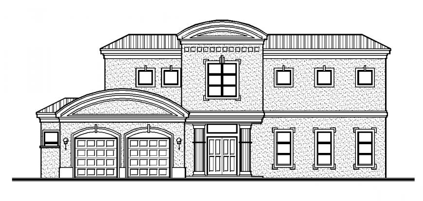 Modern Villa Elevation Design DWG file