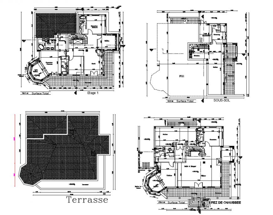 Modern villa ground, first and second floor plan details with terrace cad drawing details dwg file