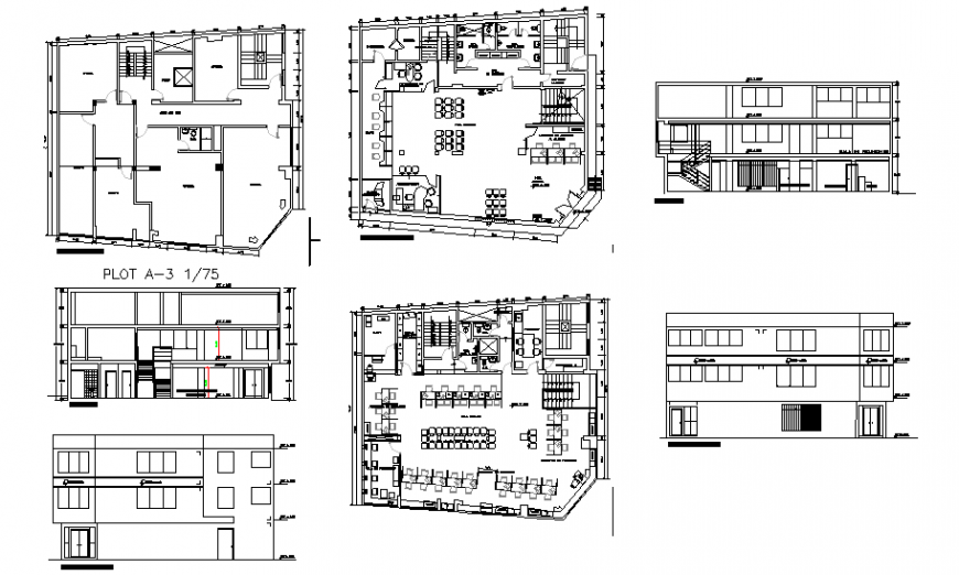 Modern villa two level with terrace-elevation, section and floor plan details dwg file