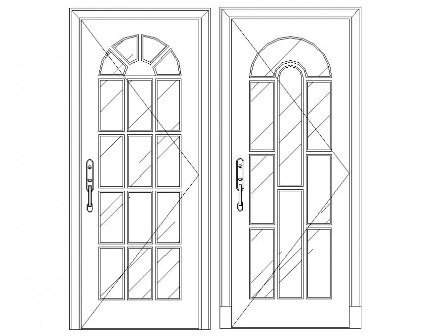 Modern wooden 2 d doors layout file