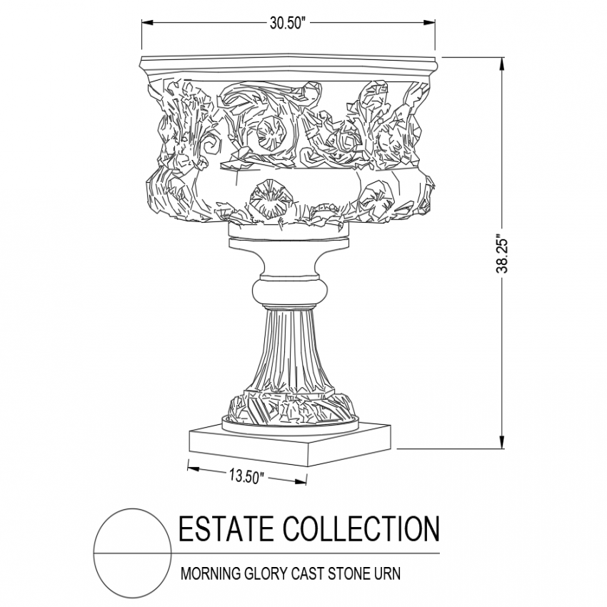 Morning glory cast stone urn isometric view dwg file