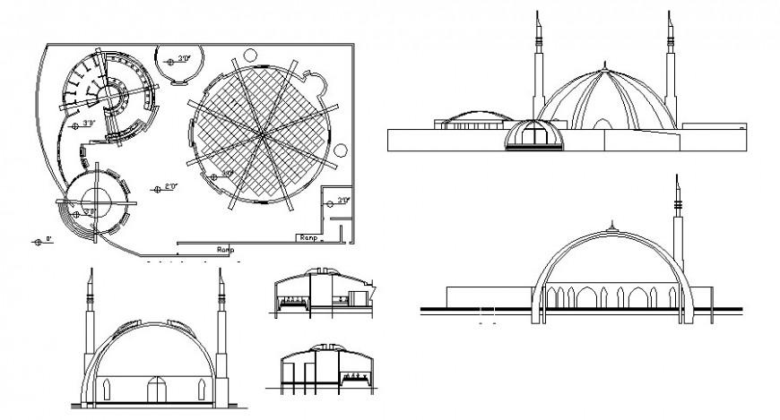 Mosque building detail elevation 2d view autocad file