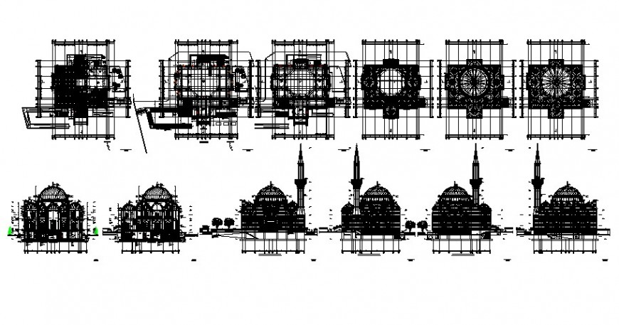 Mosque building drawing plan and elevation 2d view autocad file