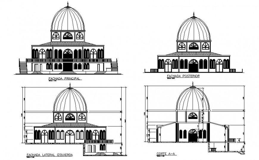 Mosque building elevation and sectional drawings 2d view autocad file