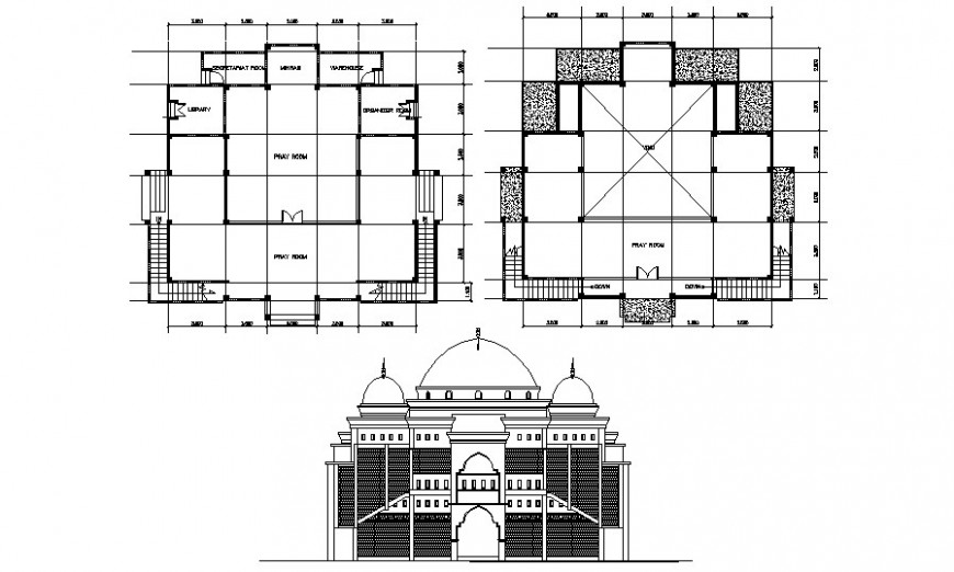 Mosque building plan and elevation drawing in autocad