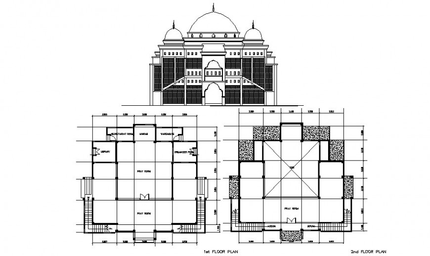 Mosque holy place details elevation and plan drawings in autocad