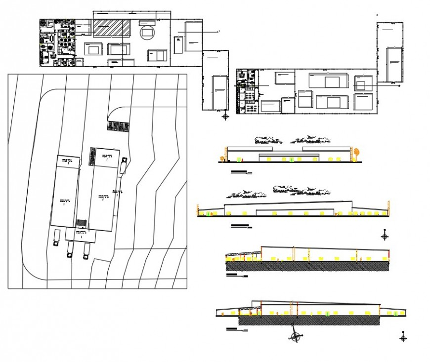 Mosque plan, elevation and section dwg file